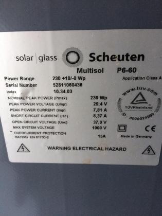 panneaux solaire occasions 230 watts  Scheuten