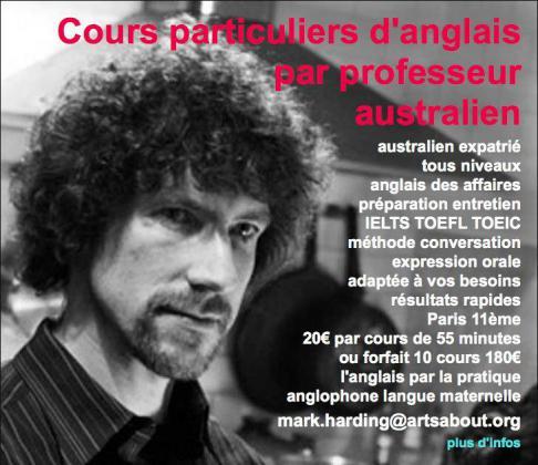 Cours particuliers d'anglais à Paris par professeur australien