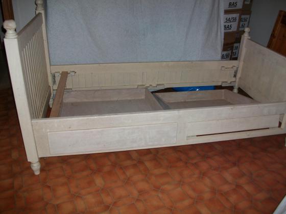 Cadre de Lit 1 personne en Bois Blanc avec 2 tiroirs