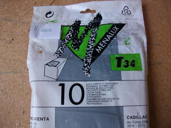 Lot 8 SACS MENALUX T34 pour ASPIRATEUR -Neufs 0,30 €
