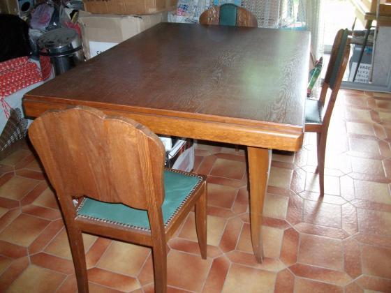 Ensemble Table de Salon + 6 chaises en bois