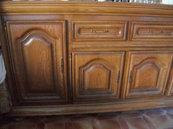 Buffet 4 portes + tiroirs en chêne massif