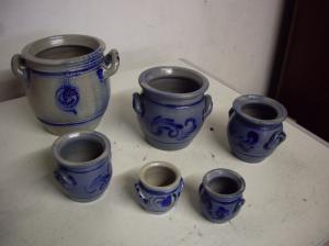Lot 6 pots grès de Betschdorf décor bleu