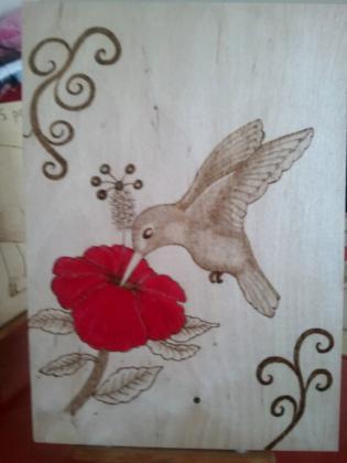 décoration de tableau en pyrogravure