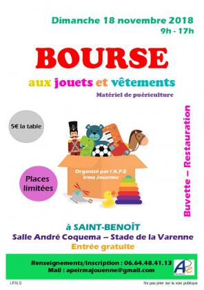 BOURSE AUX JOUETS ET VETEMENTS organisée PAR L'APE Irma Jouenne