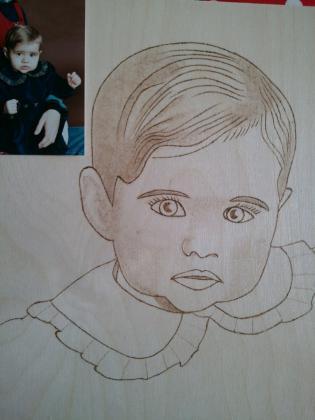 portrait en pyrogravure