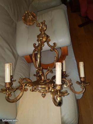 Lustre vintage en bronze massif à 6 branches