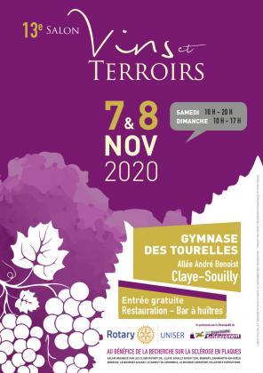 13ème Salon des Vins et Terroirs Rotary les 7 et 8 novembre 2020 à Claye-Souilly (77)