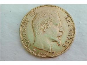 Pièce Or 20 Francs Napoléon III, Tête Nue 1859