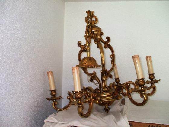 Lustre vintage bronze massif 6 branches