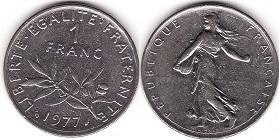 Pièce 1 franc Semeuse 1977