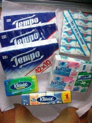 Lots Paquets Mouchoirs Papier - Neufs, emballés