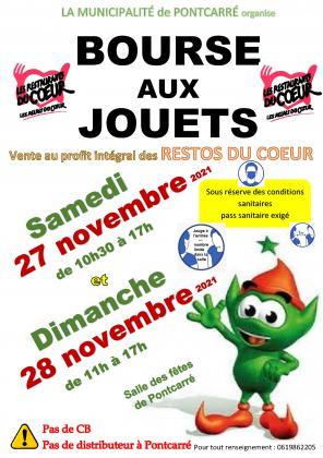 13ème BOURSE AUX JOUETS les samedi 27 novembre 2021 de 10h30 à 17h et dimanche 28 novembre 2021 de 11h à 17h à la salle des fêtes de Pontcarré (77135)